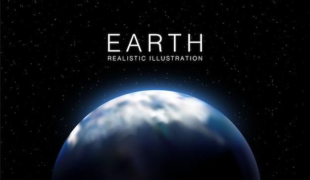 Illustrazione realistica della terra con i modelli di progettazione del fondo della carta da parati delle stelle in 3d.