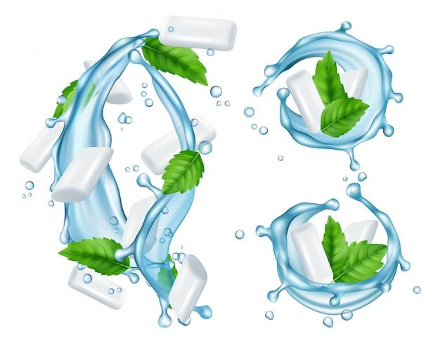 Illustrazione realistica delle gomme da masticare e della menta fresca