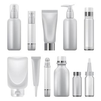 Illustrazione realistica di cosmetici pack mockup per il web