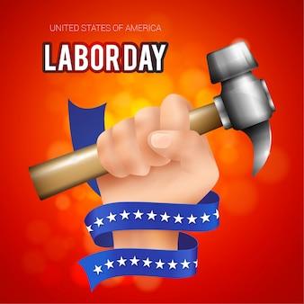 Illustrazione realistica di festa del lavoro degli stati uniti