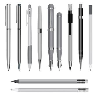 Illustrazione realistica di modelli di penna per il web