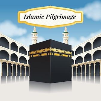 Illustrazione realistica di pellegrinaggio islamico