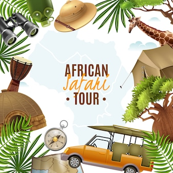 Illustrazione realistica di safari con cornice accessori