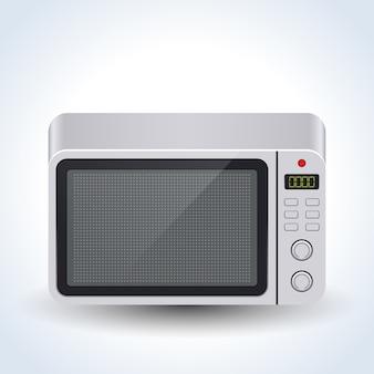 Illustrazione realistica di vettore del forno a microonde