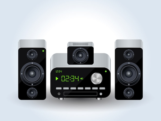 Illustrazione realistica di vettore del sistema audio domestico