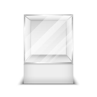Illustrazione realistica di vettore della vetrina del negozio della scatola di vetro 3d. contenitore vuoto trasparente per boutique a