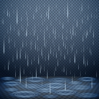 Illustrazione realistica di vettore di caduta delle gocce di pioggia