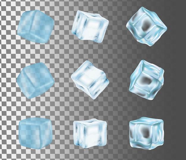 Illustrazione realistica di vettore isolata cubetto di ghiaccio