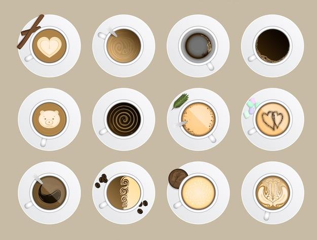 Illustrazione realistica di vista superiore della tazza di caffè