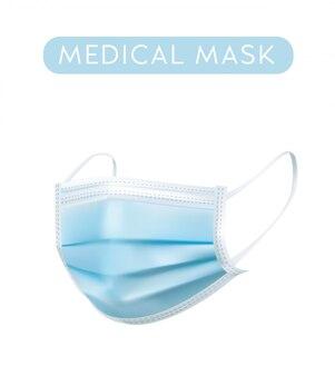 Illustrazione realistica maschera medica su sfondo bianco