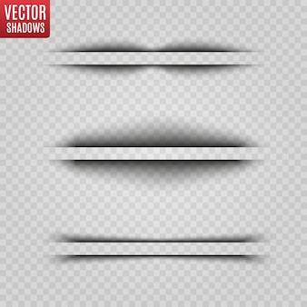 Illustrazione realistica ombra trasparente. divisore di pagina con ombre trasparenti isolate.