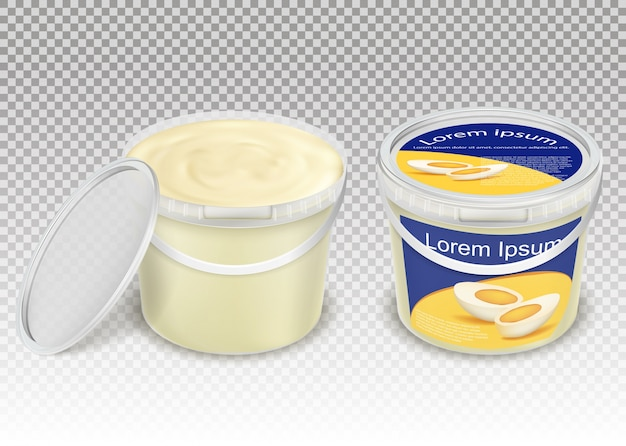 Illustrazione realistica vettoriale di secchi trasparenti di plastica con prodotti alimentari