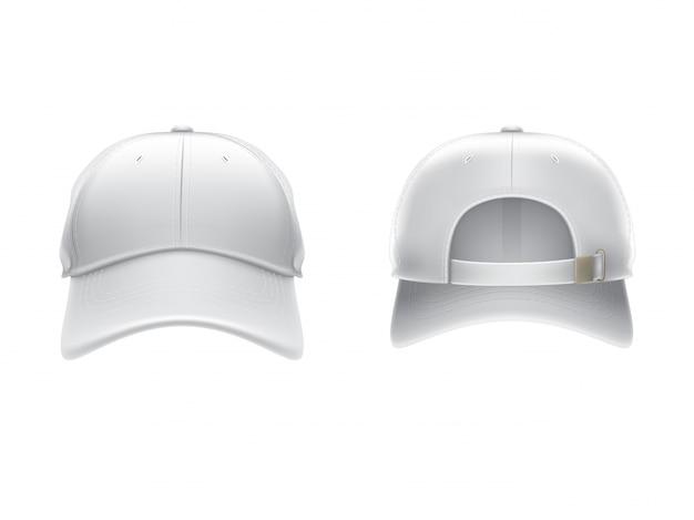 Illustrazione realistica vettoriale di un berretto da baseball bianco tessuto anteriore e posteriore