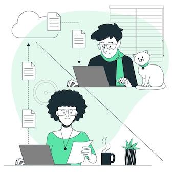 Illustrazione remota di concetto di lavoro