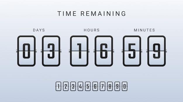 Illustrazione restante del tempo con flip countdown clock counter timer