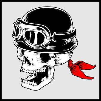 Illustrazione retrò della testa di teschio motociclista indossando il casco moto d'epoca