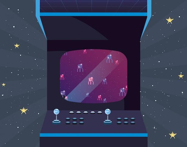 Illustrazione retrò di videogiochi
