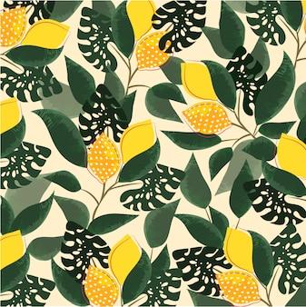 Illustrazione retrò ingrediente alimentare sano tessitura di design tessile. cibo vegan sano fashion design. giardino di limone frutta tropicale.