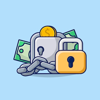 Illustrazione risparmio di denaro concetto con cassetta di sicurezza, lucchetto, denaro e icona di monete ..
