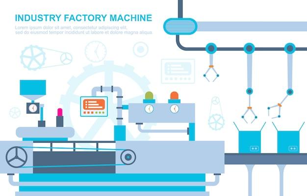 Illustrazione robot dell'assemblea di produzione automatica del trasportatore di concetto della fabbrica di industria