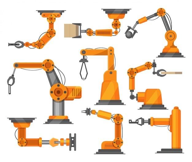 Illustrazione robot della raccolta dei manipolatori dei robot industriali isolata su bianco. tecnologia robotizzata del braccio.