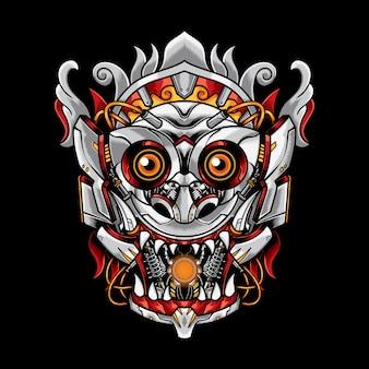 Illustrazione robotica maschera barong
