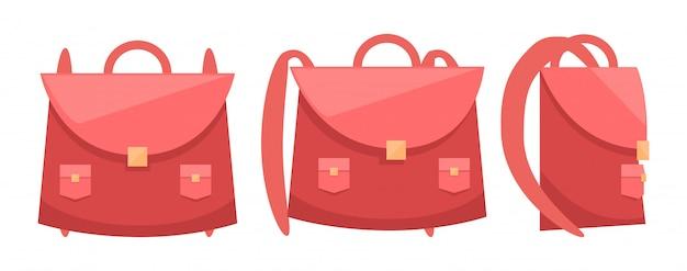 Illustrazione rosa dell'icona dello zaino della scuola