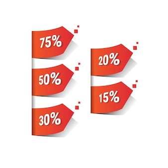 Illustrazione rossa di vettore dell'insegna dell'etichetta di vendita di black friday di per cento