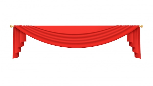 Illustrazione rossa superiore della tenda del film o del teatro della fase su bianco.