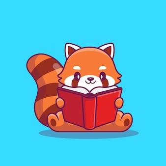 Illustrazione rossa sveglia dell'icona di panda reading book cartoon. concetto dell'icona di educazione degli animali isolato. stile cartone animato piatto