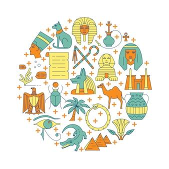 Illustrazione rotonda con simboli di egitto