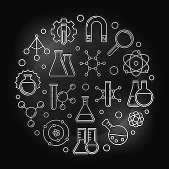 Illustrazione rotonda d'argento di fisica chimica nello stile del profilo