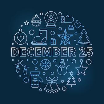 Illustrazione rotonda del 25 dicembre