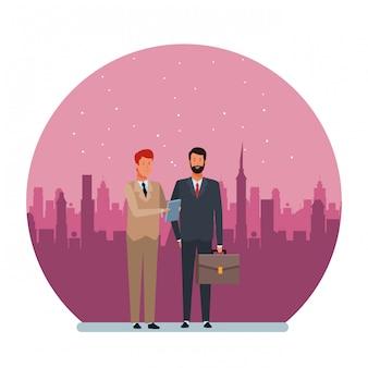 Illustrazione rotonda del personaggio dei cartoni animati dell'avatar degli uomini d'affari