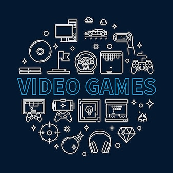 Illustrazione rotonda del profilo dei videogiochi