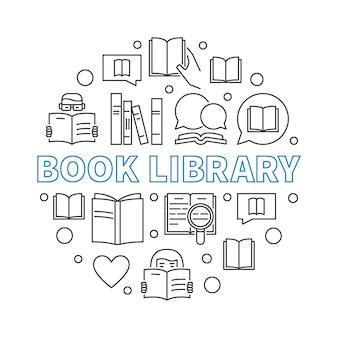 Illustrazione rotonda del profilo di concetto della biblioteca del libro