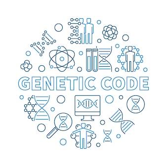 Illustrazione rotonda del profilo di vettore di codice genetico