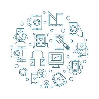 Illustrazione rotonda del profilo di vettore di sviluppo di app mobile