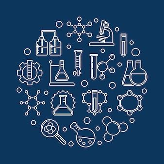Illustrazione rotonda dell'icona del profilo di chimica e di istruzione
