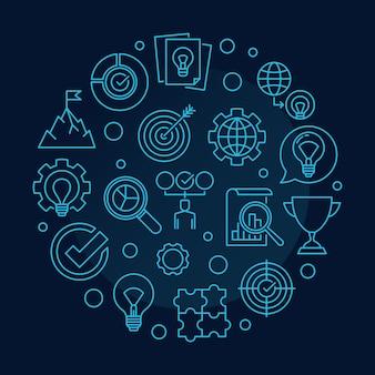 Illustrazione rotonda dell'icona del profilo di concetto di valori di affari