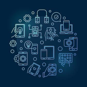 Illustrazione rotonda dell'icona della linea blu di sviluppo di app e delle app