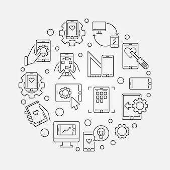 Illustrazione rotonda di concetto di sviluppo mobile di app