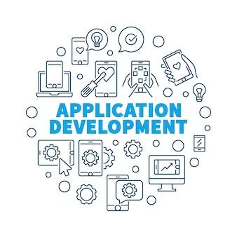 Illustrazione rotonda di concetto di vettore di sviluppo di applicazioni