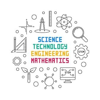 Illustrazione rotonda di scienza, tecnologia, ingegneria e matematica