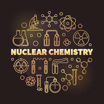 Illustrazione rotonda dorata del profilo di chimica nucleare
