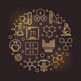 Illustrazione rotonda dorata dell'icona del profilo di chimica e di scienza