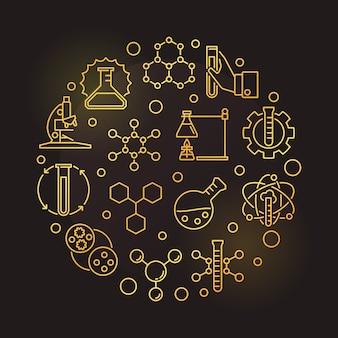 Illustrazione rotonda dorata di chimica su oscurità
