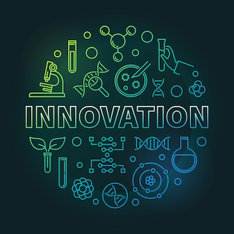 Illustrazione rotonda lineare variopinta dell'icona della genetica dell'innovazione