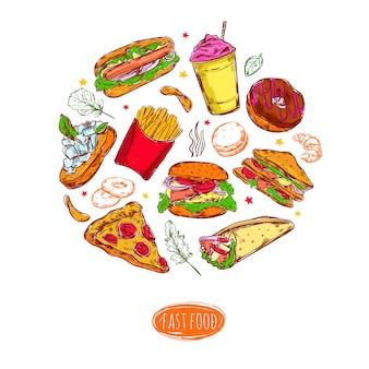 Illustrazione rotonda nella composizione negli alimenti a rapida preparazione