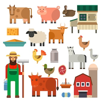Illustrazione rurale degli animali da allevamento del giardiniere di professione della persona di agricoltura dell'uomo del carattere dell'agricoltore.